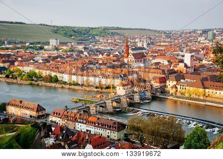 Historic City Of Wurzburg With Bridge Alte Mainbrucke, Germany
