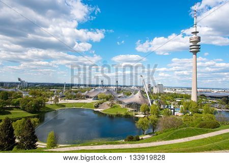 Olympic Park With Olympic Tower, Munich, Germany