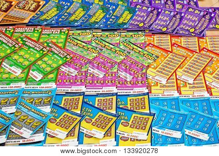 THESSALONIKI GREECE - March 14.2016: Various lottery tickets on the shop-window of shop