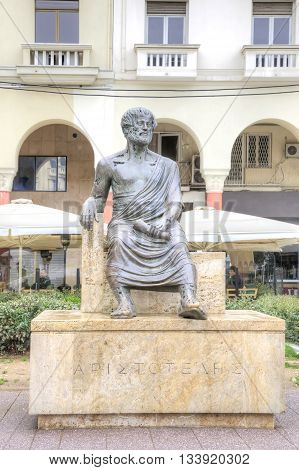 THESSALONIKI GREECE - March 14.2016: Main sight of city. The sculpture of the ancient Greek philosopher Aristotle in the historic center of the city on the Aristotelous Square