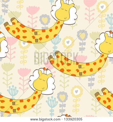 Cartoon Sleeping giraffe. Cute Hand Drawn seamless pattern