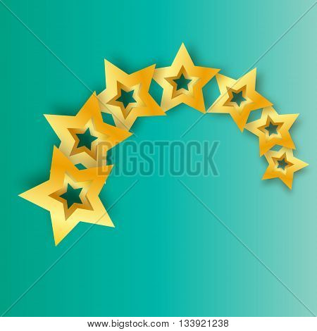 Seven Realistic Origami 3D gold stars on a blue background. Award winner. 7 golden foil stars. Good job. Best reward. Choice. VIP. Premium class. Vector illustration design template