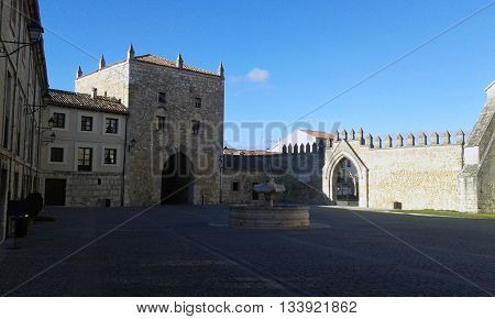 Entrance to the Monastery of the Huelgas de Burgos, Spain.