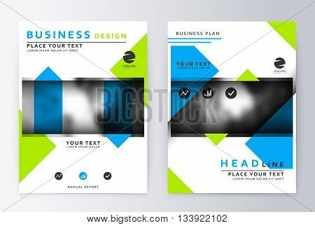 Flyer cover design green and blue. Template brochure. Flyer annual report layout. Presentation template, business flyer a4 green and blue.