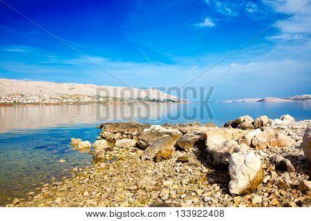 view of the Peninsula Pag Croatia, Adriatic beach