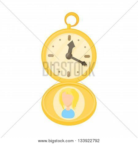 Golden pocket watch icon in cartoon style on a white background
