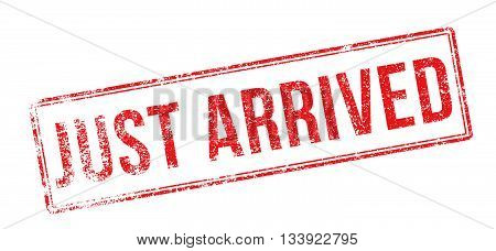 Just Arrived Red Rubber Stamp On White