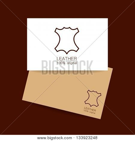 Leather logo. Identity design. Card design template. Leather - 100% original. Template sign for the label, logo, advertising, products made of leather. Leather logo. Vector template.