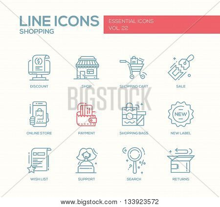 Set of modern vector simple line design icons and pictograms of shopping process elements. Discount, shopping cart, shop, sale, online store, payment, shopping bags, new label, wishlist, support, search, returns