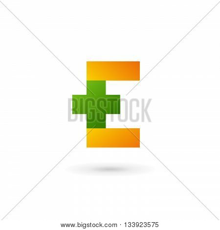 Letter E Cross Plus Logo Icon Design Template Elements