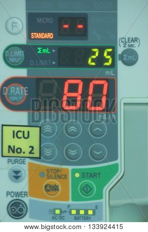 Blur Photo Of Saline Infusion Pump In Hospital