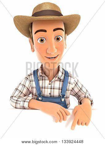 3d farmer pointing to empty wall illustration with isolated white background