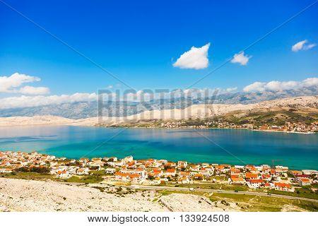 view of the Peninsula Pag Croatia. Adriatic beach