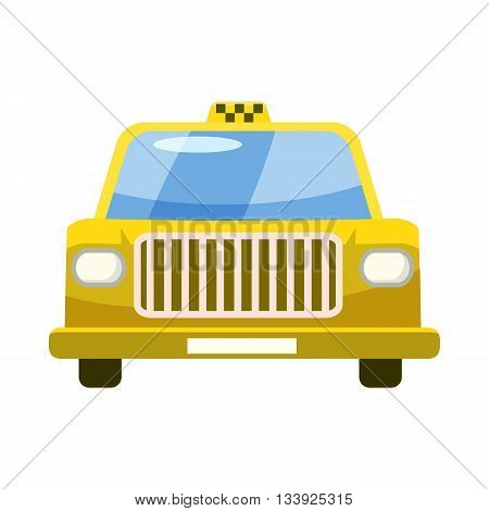 Taxi car icon in cartoon style on a white background