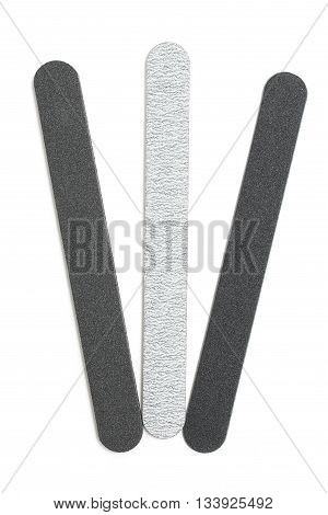 Emery board set. Isolated files on white background