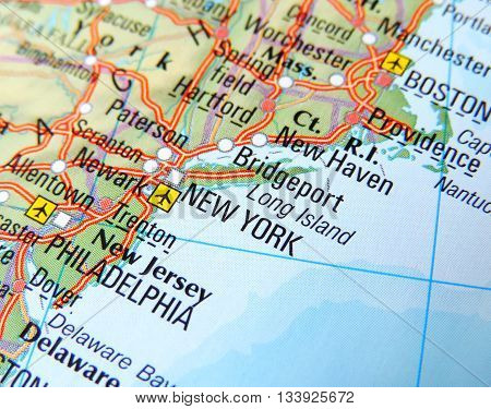 Map with focus set on New York, USA.