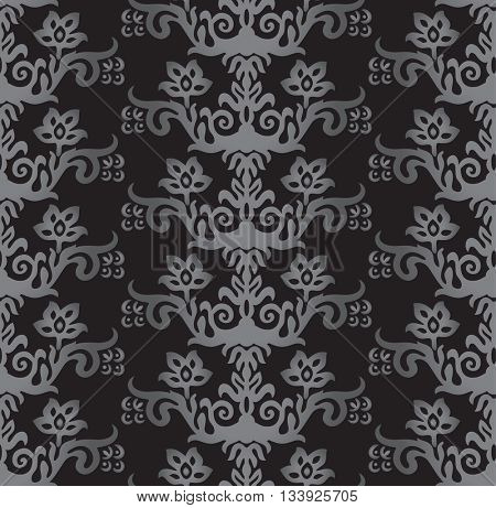 Seamless silver and charcoal victorian style floral wallpaper pattern. This image is a vector illustration.