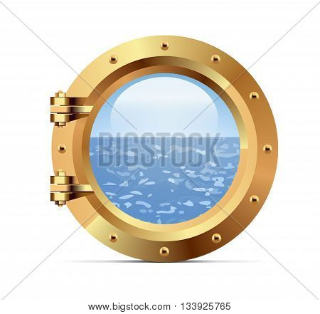 Ship bronze porthole on white background. Vector illustration