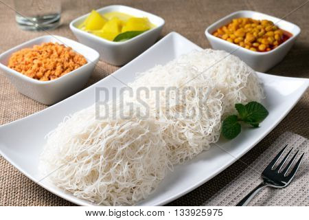 String Hoppers or indiappa with curry Sri Lankan food
