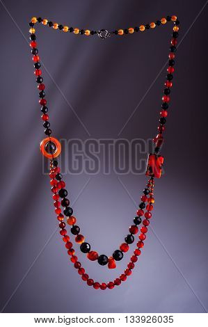 Cornelian and Agate handcrafted necklace  on dark background