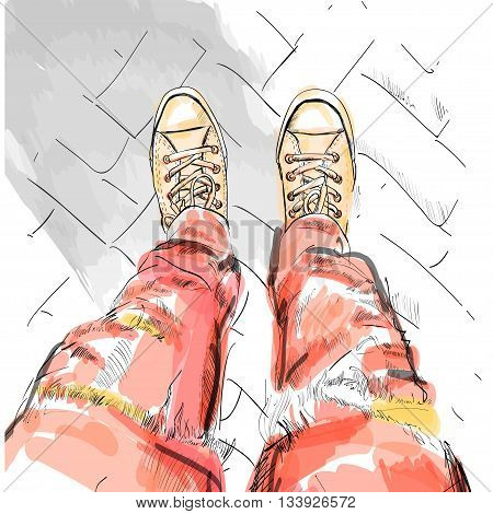 Legs with red jeans in gumshoes. Vector illustration. EPS