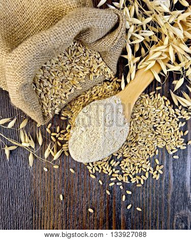 Oat flour in a wooden spoon, a bag of oats and oat stalks on a dark wooden board on top