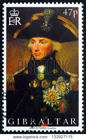 GIBRALTAR - CIRCA 2005: a stamp printed in the Gibraltar shows Admiral Horatio Nelson Battle of Trafalgar Bicentenary circa 2005