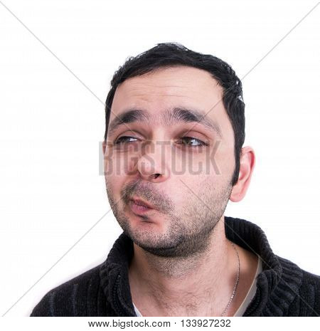 Man unsure thinking face close up isolated