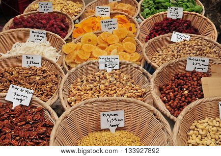 Aix en Provence France - april 21 2016 : dried fruits at the city hall square market