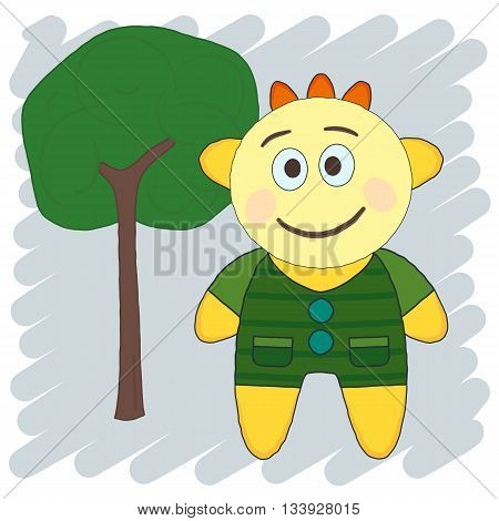 Toy and Tree. Sketch doodle illustration. Imitation of the hand made doodle style. Vector.
