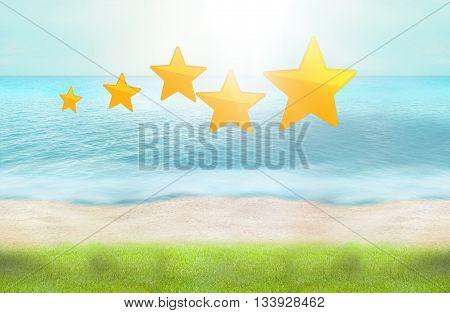 5 Stars Beach Green Grass Ocean Water 3D Render