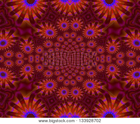 Abstract geometric seamless background. Ornate floral ornament with various blossoms in orange, blue and violet on red violet, extensive and dreamy.