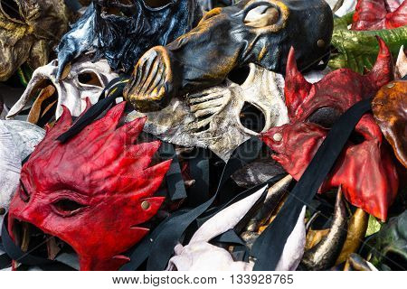 exposing of some carnival old masks background