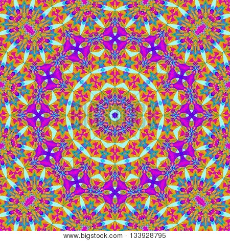 Abstract geometric seamless background. Ornate multicolored concentric circle ornament in orange, purple, turquoise and magenta, extensive and dreamy.