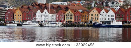 NORWAY, BERGEN - MAY 15, 2012: View of  Bryggen pier in the centre of the city of Bergen in Hordaland county