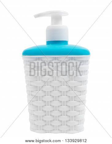 white plastic soap container with blue lid isolated closeup