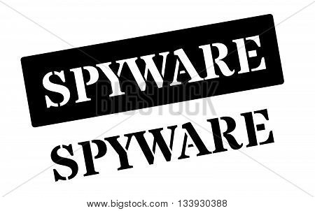 Spyware Black Rubber Stamp On White