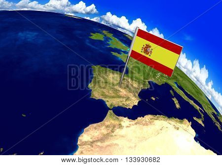 Flag marker over country of Spain on world map 3D rendering, parts of this image furnished by NASA