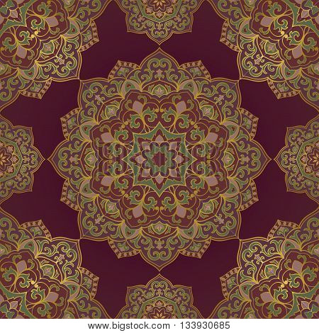Oriental seamless pattern of mandalas. Vector lilac and red ornament. Template for shawl scarf blanket textile carpet.