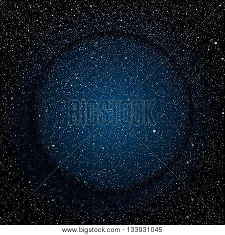 Vector glass round frame. Stars on the dark blue sky. Starry night sky.