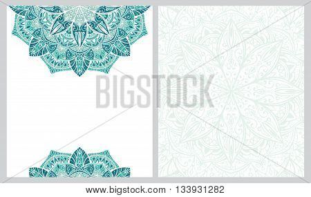 Template for greeting card with place for your text. Invitation double-sided card with mandala. Icy turquoise pattern.