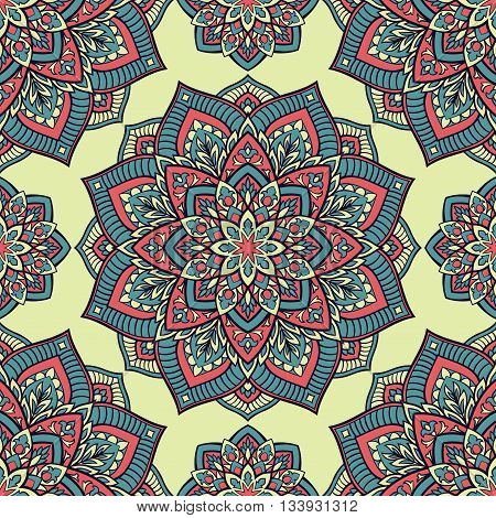 Oriental seamless pattern of mandalas. Vector pattern on a light yellow background. Template for textile linen carpet wallpaper shawls.