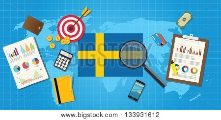 sweden swedish economy economic condition country with graph chart and finance tools vector graphic illustration