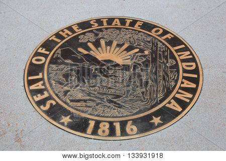 Saint Louis, MO, USA - APRIL 28,2016: State Seal on display in downtown Saint Louis near federal reserve bank of Saint Louis on April 28, 2016 in Saint Louis, MO