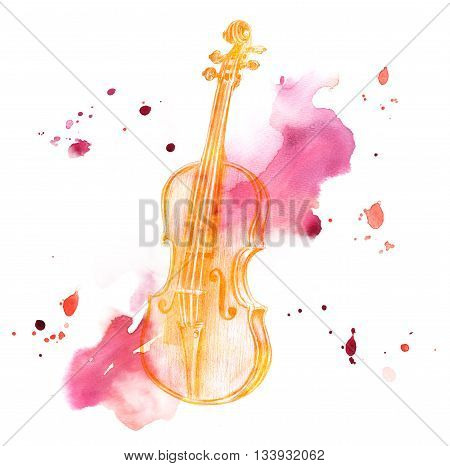 A pencil drawing of a golden colored vintage violin on a watercolor background