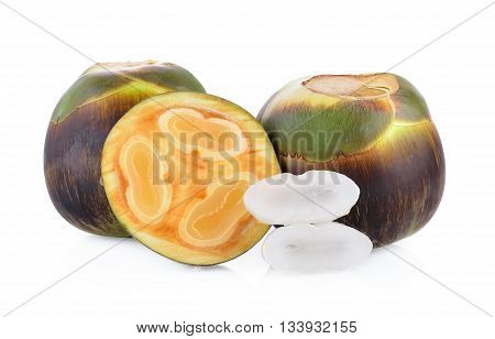 Asian Palmyra palm Toddy palm Sugar palm on white with clipping path