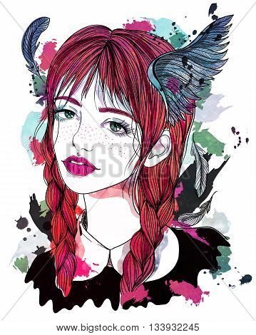 Portrait of beautiful girl with feathers in her hair. Red-haired girl with wings. Fashion illustration on abstract watercolor background. Print for T-shirt