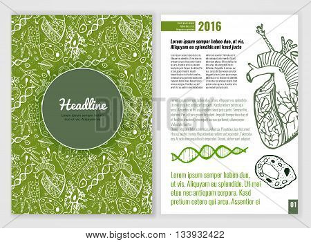 Biology scientific brochure template. Bright modern background for poster, print, flyer, book, booklet, brochure and leaflet design. Editable graphic image in white, black and green colors