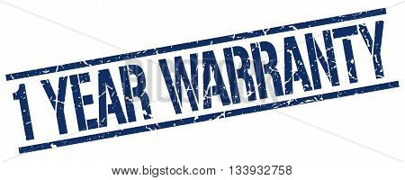 1 Year Warranty Stamp. Vector. Stamp. Sign. 1.year.warranty. Blue.