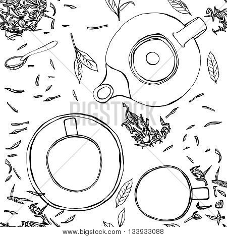 Handdrawn vector illustration. Seamless pattern with tea leaves, teapot, mug, teacup and spoon. Black ink drawing on a white background.
